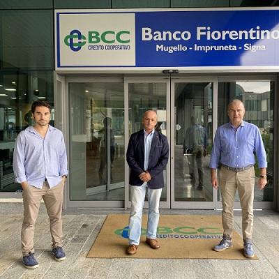 Mirko Zacchei (CISL) Alessandro Lippi (CGIL) e Davide Menetti, Direttore Banco Fiorentino.